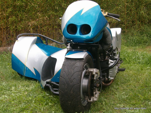 side car bmw k1200rs de face dans la verdure